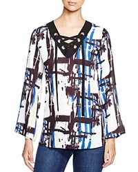 Status By Chenault Abstract Print Tunic Bloomingdale's Exclusive Blue Yellow