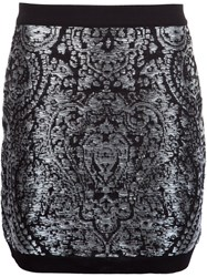 Balmain Embroidered Pattern Mini Skirt Metallic