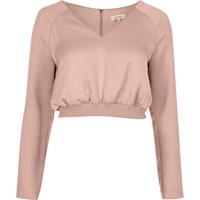 River Island Womens Pink Satin Sports Crop Top