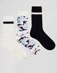 Asos Sports Style Socks With Camo Design 3 Pack Multi