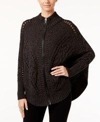 Inc International Concepts Zip Up Mixed Knit Poncho Sweater Only At Macy's Deep Black