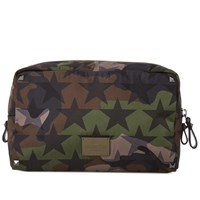 Valentino Camo Stars Nylon Wash Bag Green
