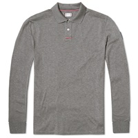 Moncler Gamme Bleu Long Sleeve Pique Polo Charcoal