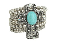 Mandf Western Western Charm Cross W Turquoise Stone And Crystals Bracelet Silver Bracelet