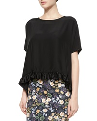 Clover Canyon Flowy Ruffle Trim Top Black