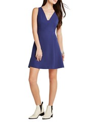 Bcbgeneration Lace Trimmed Sleeveless Fit And Flare Navy Sea