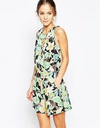 Traffic People Virtue Playsuit In Tropical Floral Print Green