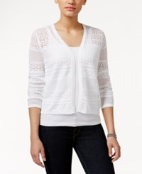 Charter Club Crochet Striped Open Cardigan Only At Macy's Bright White