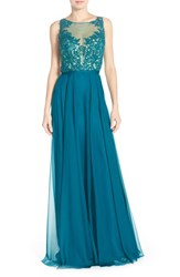 Women's La Femme Embellished Lace And Chiffon Gown
