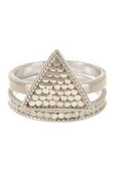 Anna Beck Sterling Silver Triangle Stack Ring Set Metallic
