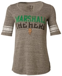 Myu Apparel Women's Short Sleeve Marshall Thundering Herd Sequin T Shirt Gray