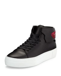 Buscemi 90Mm Leather Sneaker W Sequined Feather Black