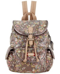 Sakroots Artist Circle Small Flap Backpack Sterling Treehouse W Sequins