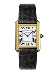 Cartier Tank Solo Small 18K Yellow Gold And Alligator Strap Watch Gold Black