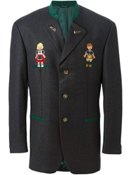 Moschino Vintage Military Embroidered Blazer Grey