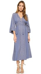 Free People Modern Kimono Maxi Dress Denim Combo