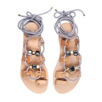 Iris St. Tropez Gladiator Rope Sandals With Ceramic Stones Nude Neutrals