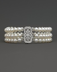 Bloomingdale's Freshwater Pearl Bracelet With Diamond Accents No Color