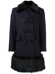 Marc Jacobs Faux Fur Hem Coat Blue