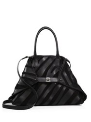 Akris Ai Small Convertible Leather And Suede Tote Black