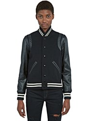Saint Laurent Varsity Leather Bomber Jacket Black