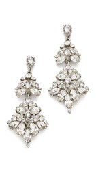 Ben Amun Embellished Chandelier Earrings Silver Clear