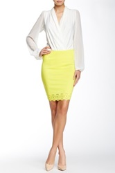 Gracia Hole Punched Pencil Skirt Yellow