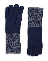 Miscellaneous Patterned Knit Gloves Navy Blue