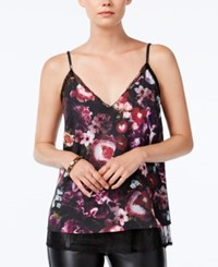 Bar Iii Printed Layered Camisole Only At Macy's Black Combo