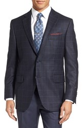 Peter Millar Men's 'Flynn' Classic Fit Plaid Wool Sport Coat Medium Blue