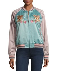 Glamorous Eagle Colorblock Satin Bomber Jacket Blue Gray