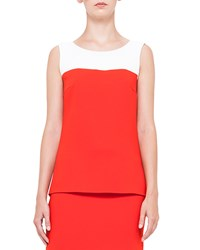 Akris Punto Colorblock Shirttail Tank Top Rouge Creme