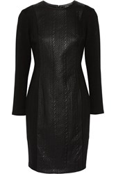Raoul Paneled Faux Textured Leather And Cotton Blend Dress Black