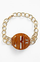 Women's Moon And Lola 'Annabel' Medium Personalized Monogram Bracelet Tigers Eye Gold
