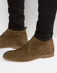 Asos Lace Up Boots In Khaki Suede With Natural Sole Khaki Green
