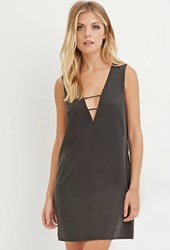 Forever 21 Contemporary Laddered Cutout Dress Charcoal