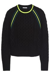 Alexander Wang Cropped Neon Trimmed Cable Knit Sweater Black