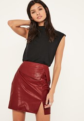 Missguided Burgundy Overlay Faux Leather Mini Skirt