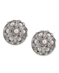 Carolee Earrings Glass Pearl Crystal Small Button Stud