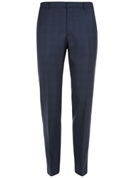 Jaeger Cool Wool Check Trousers French Navy