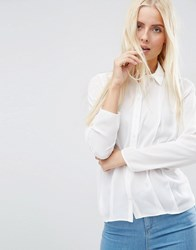 Asos Pleat Front Blouse Ivory White