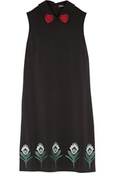 Markus Lupfer Nella Embroidered Stretch Crepe Mini Dress Black