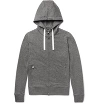 Tom Ford Leather Trimmed Melange Cashmere And Cotton Blend Zip Up Hoodie Gray