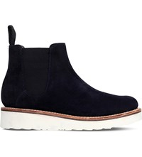 Grenson Lydia Leather Chelsea Boots Navy