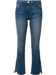 3X1 Cropped Slit Flared Jeans Blue