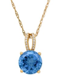 Macy's Blue Topaz 3 2 5 Ct. T.W. And Diamond 1 10 Ct. T.W. Pendant Necklace In 14K Rose Gold