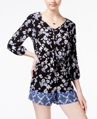 American Rag Printed Three Quarter Sleeve Romper Only At Macy's Black Combo