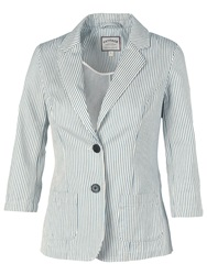 Fat Face Washed Ticking Stripe Blazer Blue White