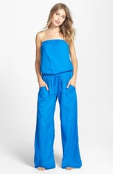 Women's Hard Tail Strapless Shelf Bra Jumpsuit Pool