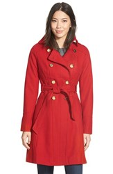 Guess Women's Wool Blend Trench Coat Red